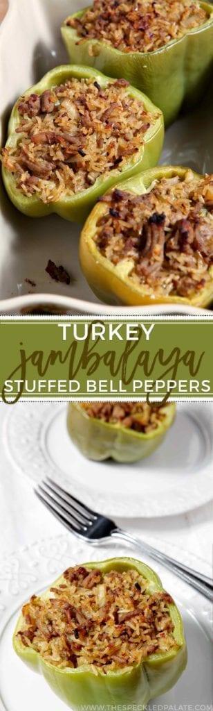 Turkey Jambalaya Stuffed Bell Peppers makes a delicious dinner year-round, but especially when you're looking for a lighter meal. This Cajun twist on a classic entree, which consists of rice, the holy trinity (of onion, celery and bell pepper) and ground turkey, is baked inside a bell pepper.