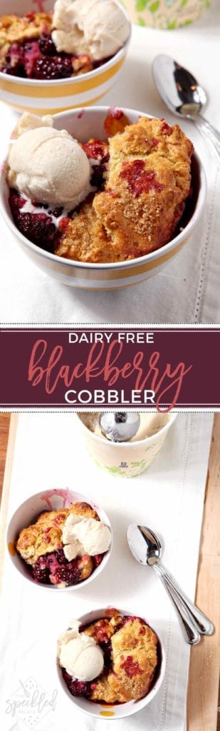 Dairy Free Blackberry Cobbler is the ultimate summertime dessert. Serve with a scoop of your favorite (dairy free) ice cream to top off this scrumptious treat. #dessert #summer