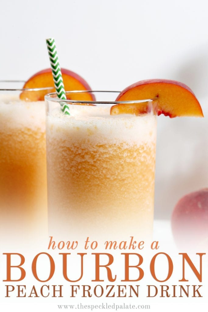 """Close up of two highballs of orange peach slush with the text """"how to make bourbon peach frozen drink"""""""