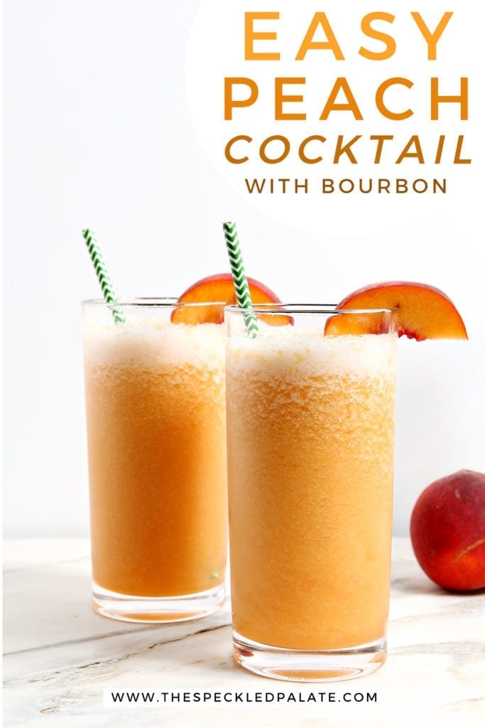 """Two highball glasses of bourbon peach slush on a marble countertop with peach wedge garnishes with the text """"easy peach cocktail with bourbon"""""""