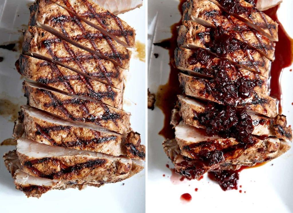 Sliced pork tenderloin on white serving platter
