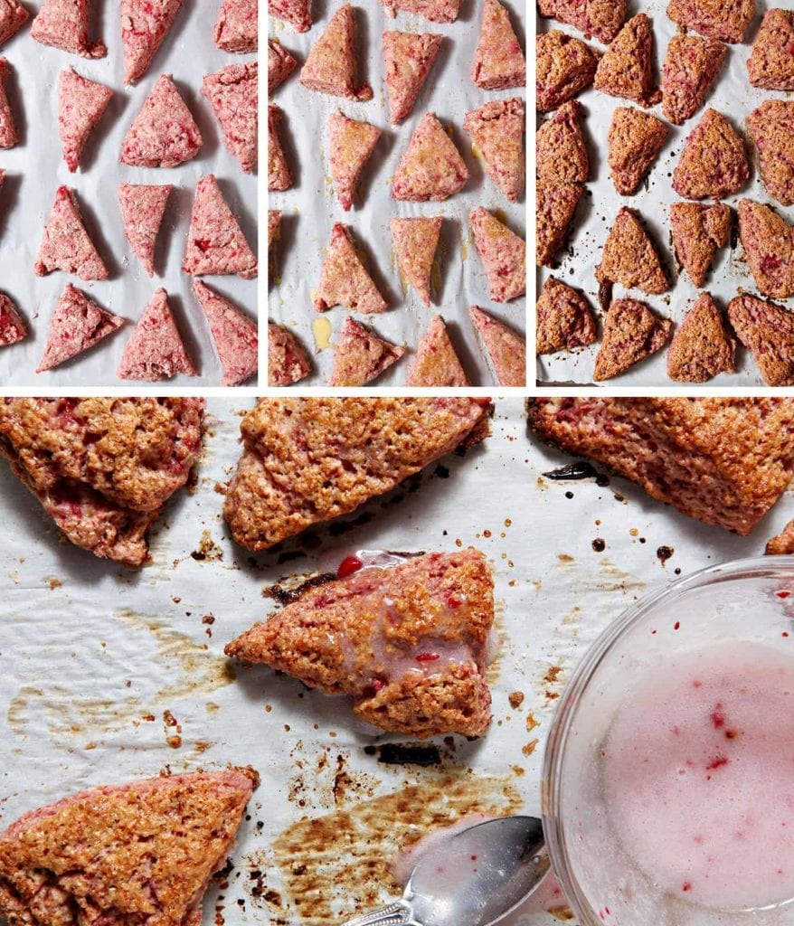 A collage of Fresh Strawberry Scones when they're right out of the oven