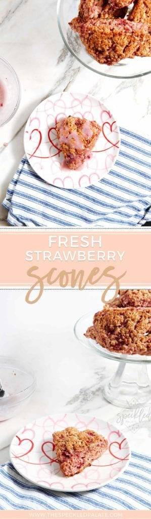 Pinterest collage of two images of Strawberry Scones
