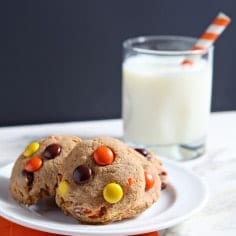 Rich peanut butter cookies, studded with Reese's Pieces candies, are the ultimate Halloween cookie. Crisp on the outside and soft on the inside, these sweets will be well-loved in any household whose inhabitants love peanut butter and chocolate.