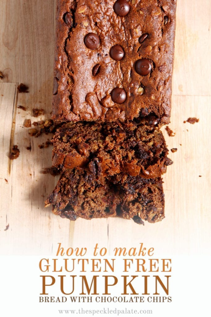 Overhead of a half-sliced loaf of Gluten Free Pumpkin Bread with Chocolate Chips with the text 'how to make gluten free pumpkin bread with chocolate chips'
