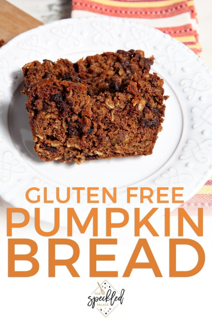 Two slices of Gluten Free Pumpkin Bread with Chocolate Chips on a white plate with the text 'gluten free pumpkin bread'