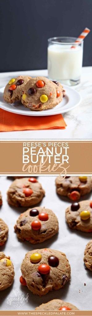 Peanut Butter Cookies | Halloween Cookies | Easy Homemade Cookies | Fall Cookies | Fall Sweet | Fall Dessert | Reese's Pieces Cookies | Reese's Dessert