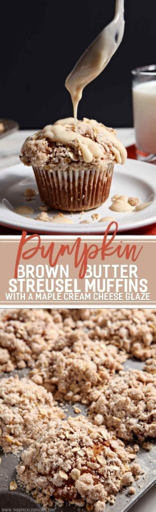 Pumpkin season is in full-swing, and we should celebrate with these decadent Pumpkin Brown Butter Streusel Muffins with Maple Cream Cheese Glaze. The muffins are fluffy, the streusel is crumbly and the glaze is tart, culminating in a delicious breakfast or brunch confection that everyone is bound to adore.