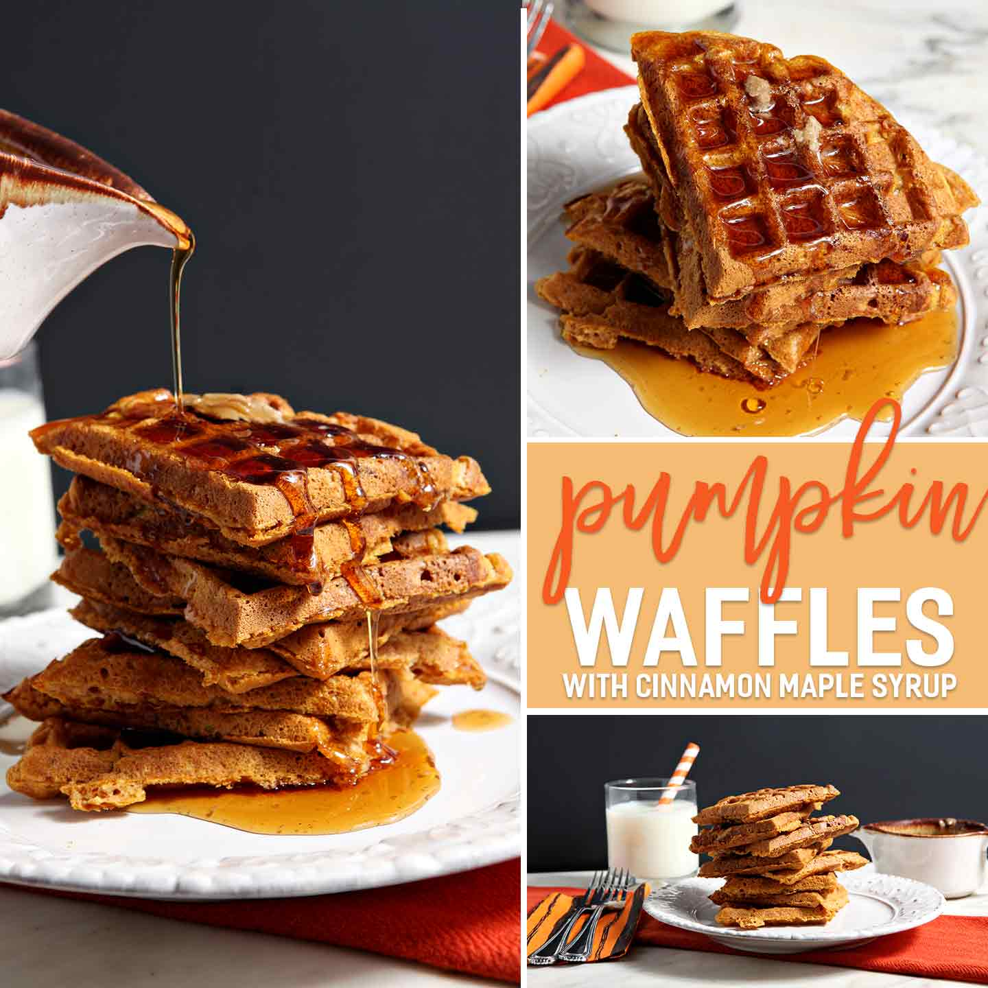 Pumpkin Waffles with Cinnamon Maple Syrup // The Speckled Palate