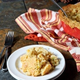 Creamed Cornbread Casserole is a Southern classic and a decadent casserole for the Thanksgiving table. Creamed corn is combined with the ingredients for homemade sweet cornbread and a jalapeño to create this spicy, creamy corn-centric dish. #Thanksgiving #Blogsgiving2015 #sidedish #cornbread #vegetarian