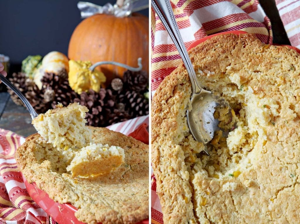 A collage of two images showing a spoon scooping into a casserole and a spoon inside a cornbread casserole after a scoop has been taken out