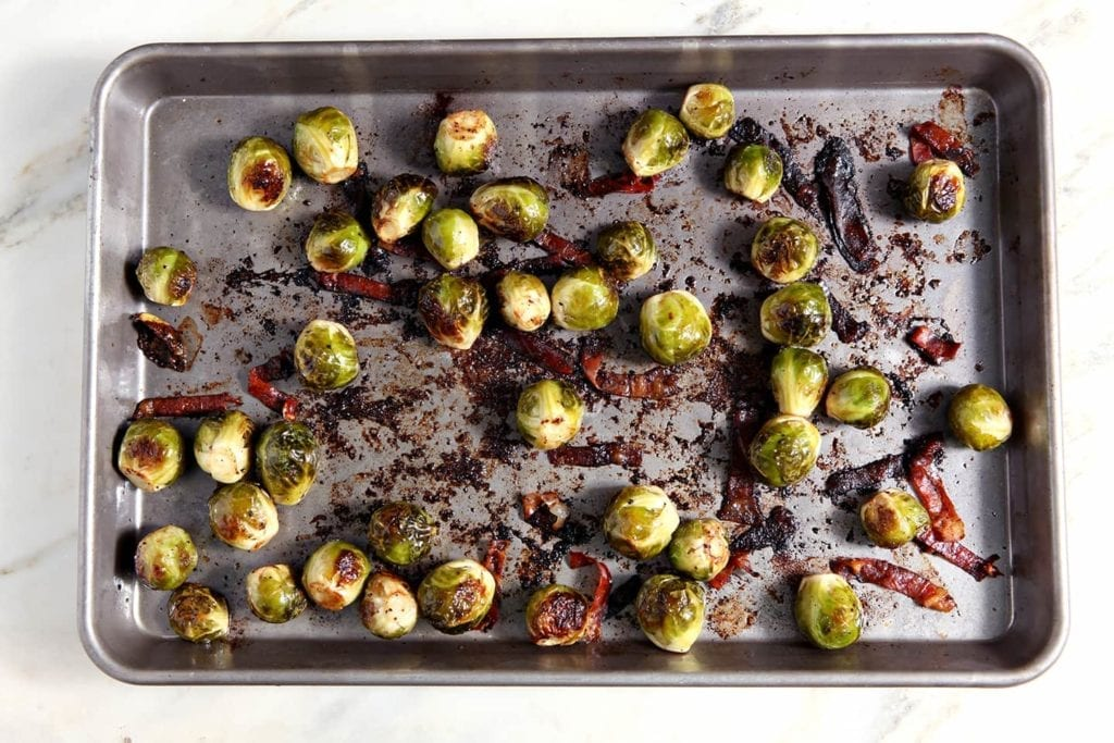 Pan of roasted Italian Brussels Sprouts