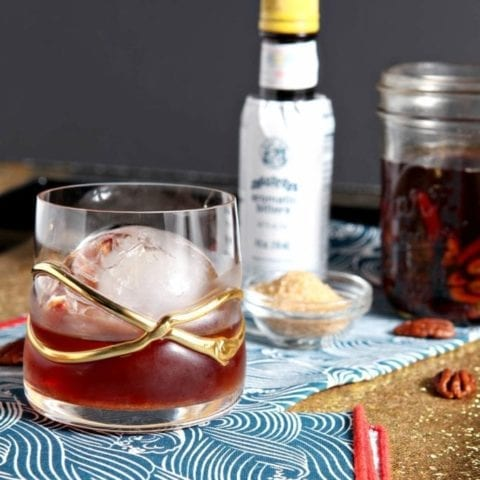 Toasted Pecan Old Fashioned With Homemade Toasted Pecan Whiskey