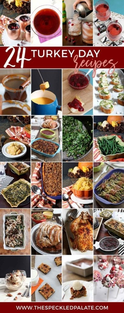Long collage including all 24 turkey day recipes