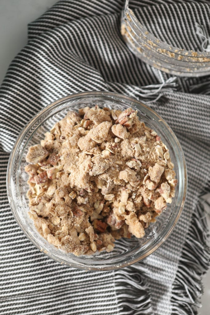 The blended streusel topping in a bowl