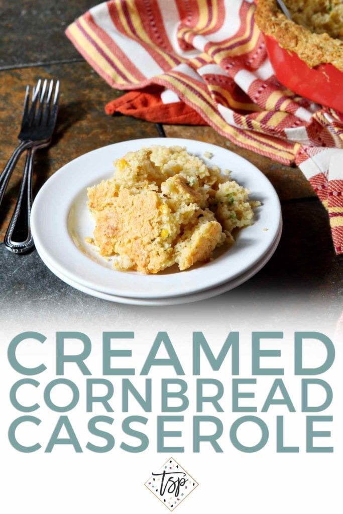 Pinterest graphic for Creamed Cornbread Casserole, featuring text and a plate of the casserole with text