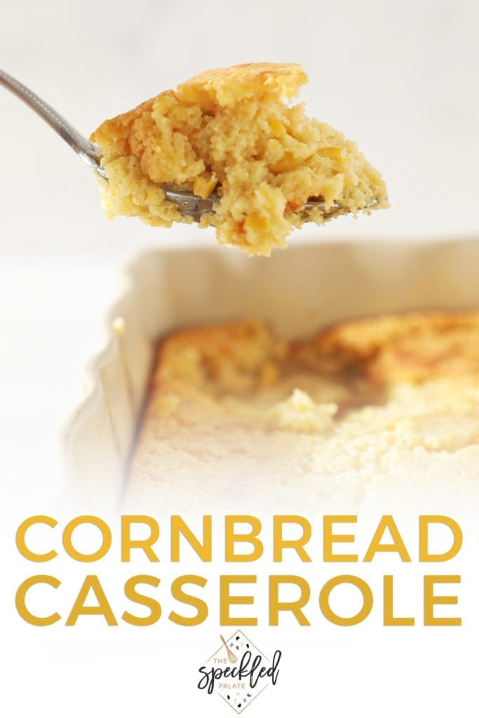 A spoon lifts Cornbread Casserole out of the dish with the text 'cornbread casserole'