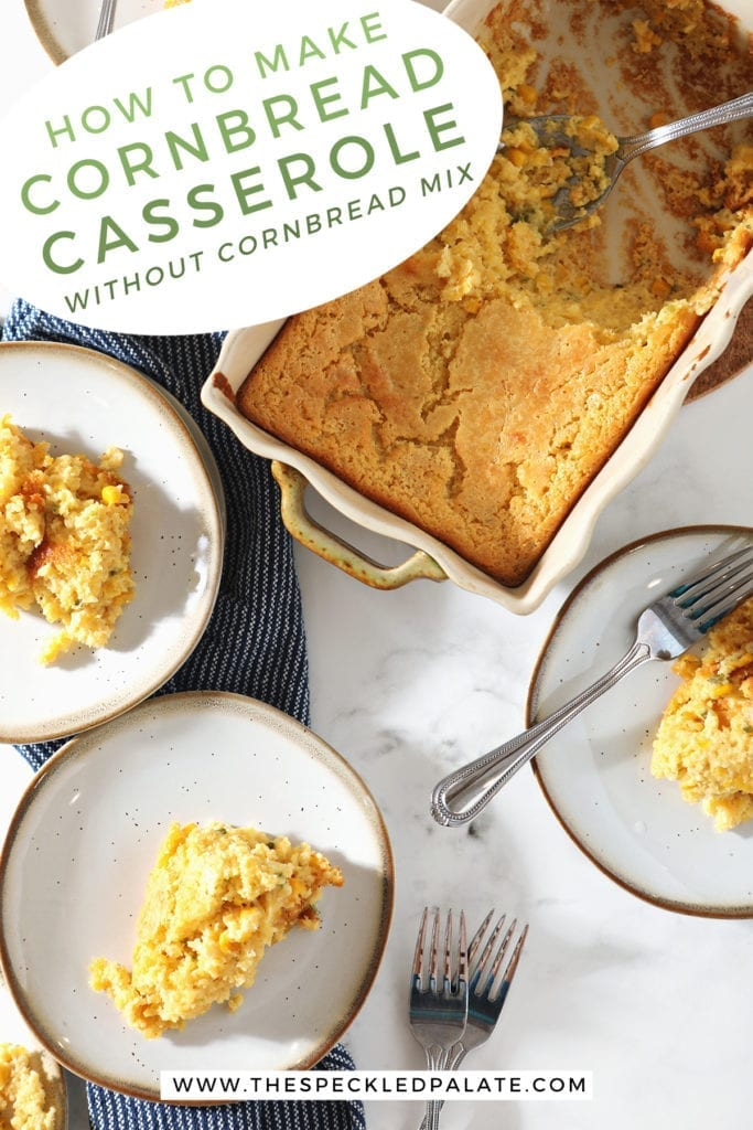 Several white plates hold servings of yellow casserole next to a dish and forks with the text 'how to make cornbread casserole without cornbread mix'