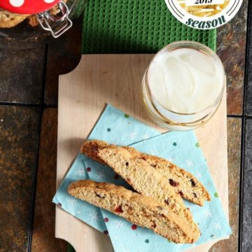 Perfectly crunchy cookies are chock full of cranberries, orange and ginger goodness to make these beautiful Cranberry Orange Ginger Biscotti. This biscotti is the perfect cookie for any non-chocolate lover.