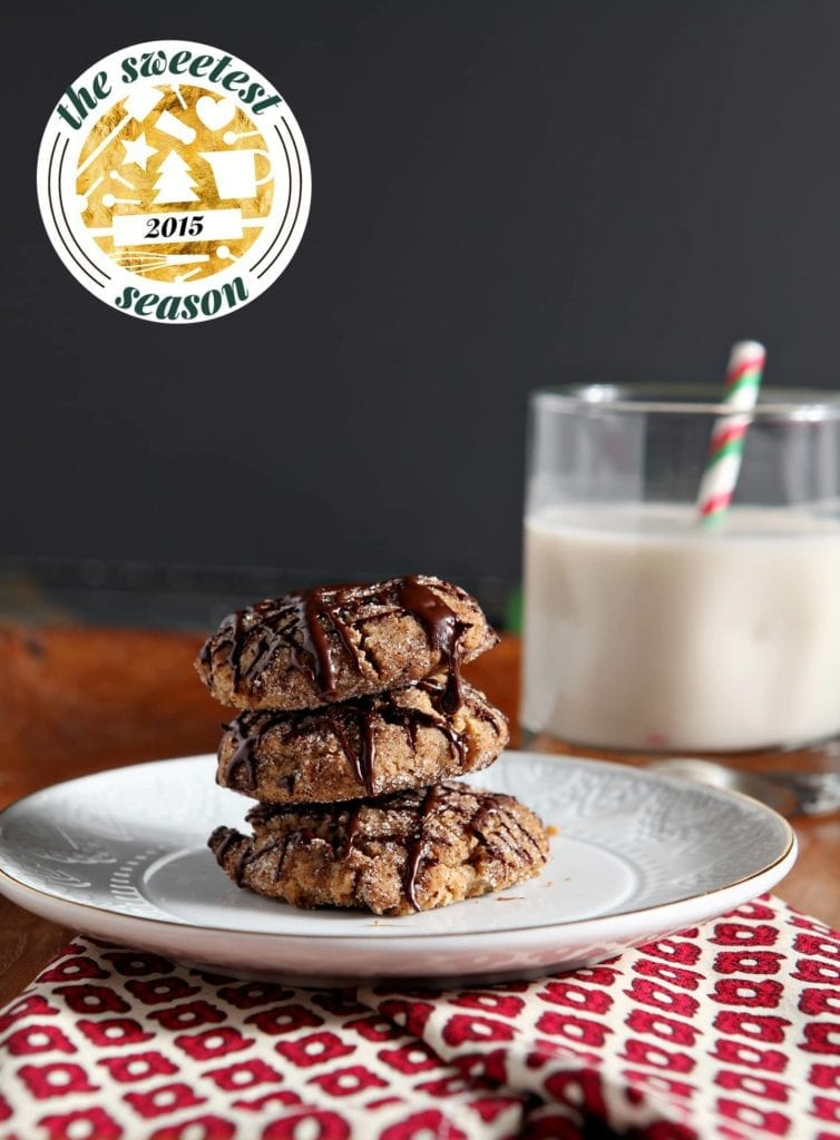 A stack of Vegan Peanut Butter Espresso Cookies is served with a glass of non-dairy milk