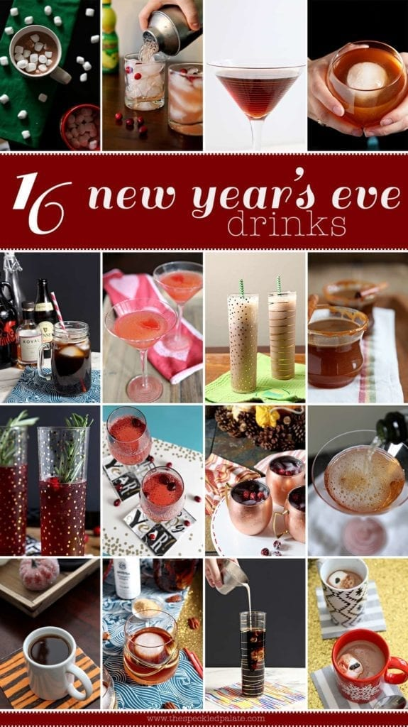Collage of 16 cocktails and mocktails to make as New Year's Eve drinks