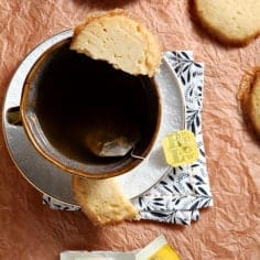 Biscuits and tea never looked so good! Bursting with lemon flavor, Lemon Honey Shortbread is the perfect accompaniment to a mug of Bigelow tea. #ad #MeAndMyTea #CollectiveBias