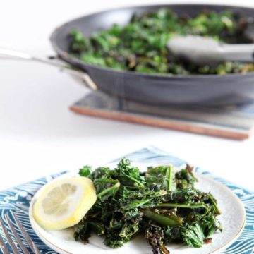 Get some greens in your life this January by making this super simple (and super delicious) Lemon Kale. Garlic and kale are sautéed in sesame oil, then lemon zest and juice are used for finishing this vegan side dish.