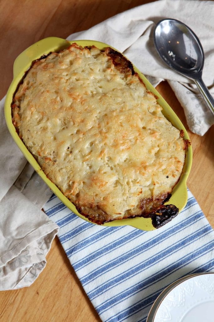 Shepherd's Pie is a wintertime favorite. Beef, onions, garlic, bell pepper, broccoli, peas and more are cooked together and topped with a mashed potato topping, then baked to make the ultimate winter comfort food.