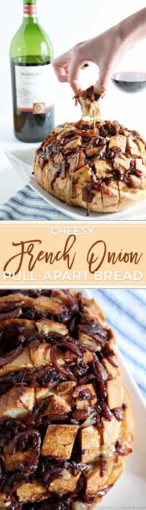 Looking for a tasty appetizer to feed a crowd for the Big Game? Cheesy French Onion Pull-Apart Bread is the way to go. A sourdough loaf is sliced, then filled with a gooey cheese mixture and topped with caramelized onions, which are finished with Woodbridge Wines Cabernet Sauvignon. The bread bakes for 20 minutes, then voila! Cheesy, gooey, delicious bread that tastes like French Onion Soup! #ad #FlavorsOfTheGame