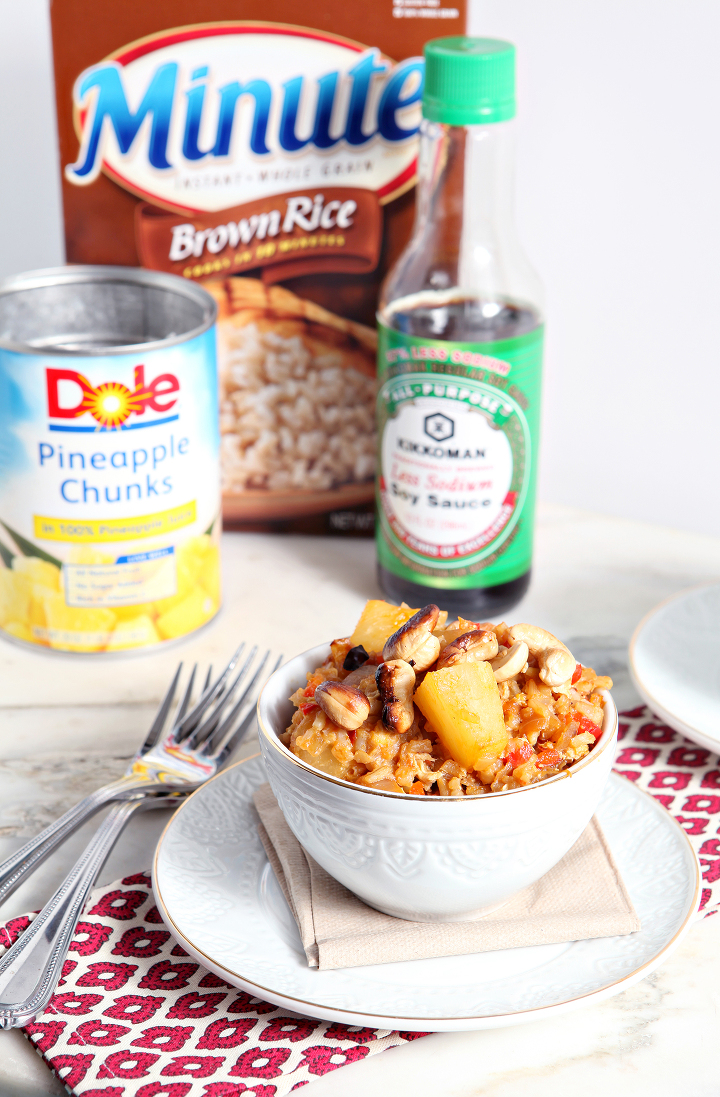 Pineapple Fried Rice makes the perfect vegetarian family dinner to eat while celebrating the Chinese New Year! Made with Dole Pineapple Chunks in 100% Pineapple Juice, Minute® Whole Grain Brown Rice and Kikkoman Less Sodium Soy Sauce, this fried rice is ready in just 30 minutes.