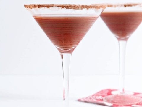 Celebrate Valentine's or Galentine's Day in style with a homemade Vanilla Hot Chocolate Martini. Sweet, chilled and utterly delicious, this twist on a classic martini goes down smooth and makes a perfect dessert cocktail!