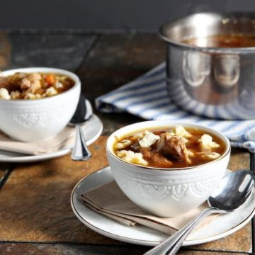 Chicken Spaetzle Soup is a perfect comfort food for a chilly day. Classic chicken soup with onions, carrots and celery is filled with spaetzle, German egg noodles, to create this comforting twist on a classic.