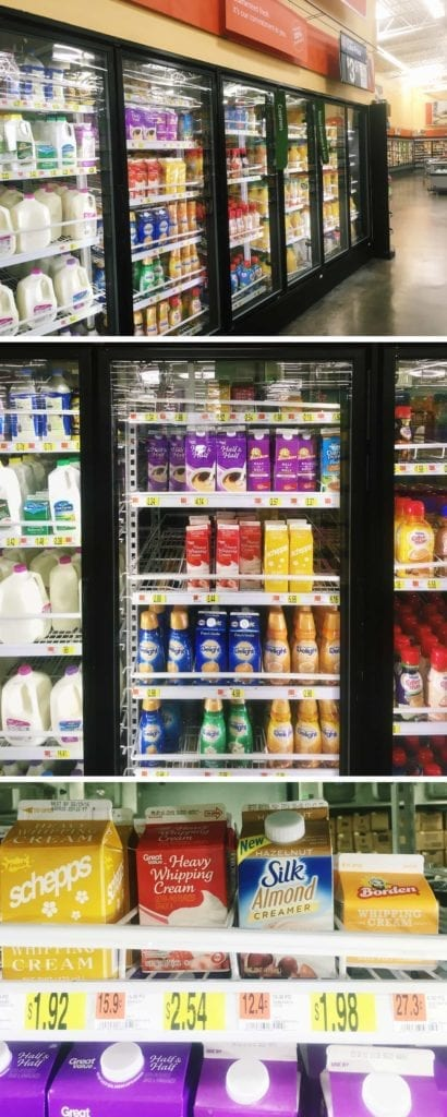 A collage of where to find the Silk¨ Hazelnut Almond Creamer inside Walmart's store.