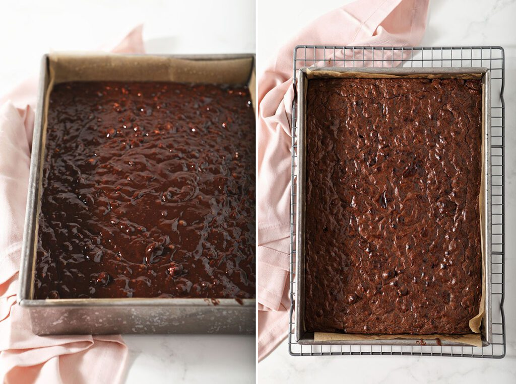 Collage showing brownies before and after baking