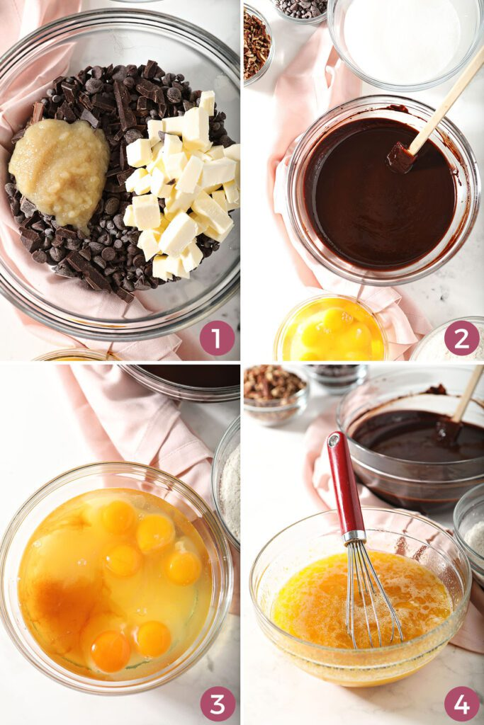 Collage showing how to melt chocolate and mix eggs for brownies