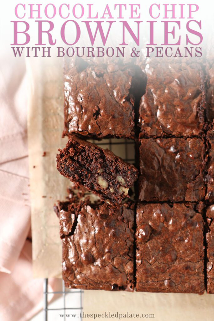 Sliced brownies on a cooling rack with the text chocolate chip brownies with bourbon and pecans