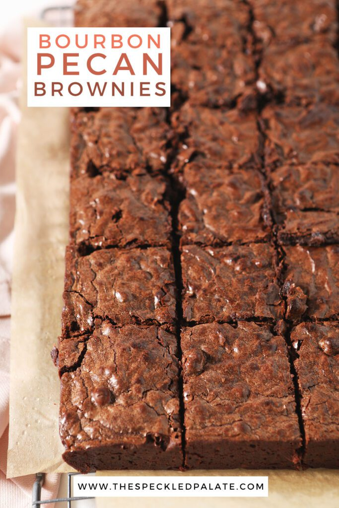 Chocolate Chip Brownies with Bourbon and Pecans are a unique dessert! Dark chocolate and pecan-filled brownies are gooey, dense and wonderful for sharing.