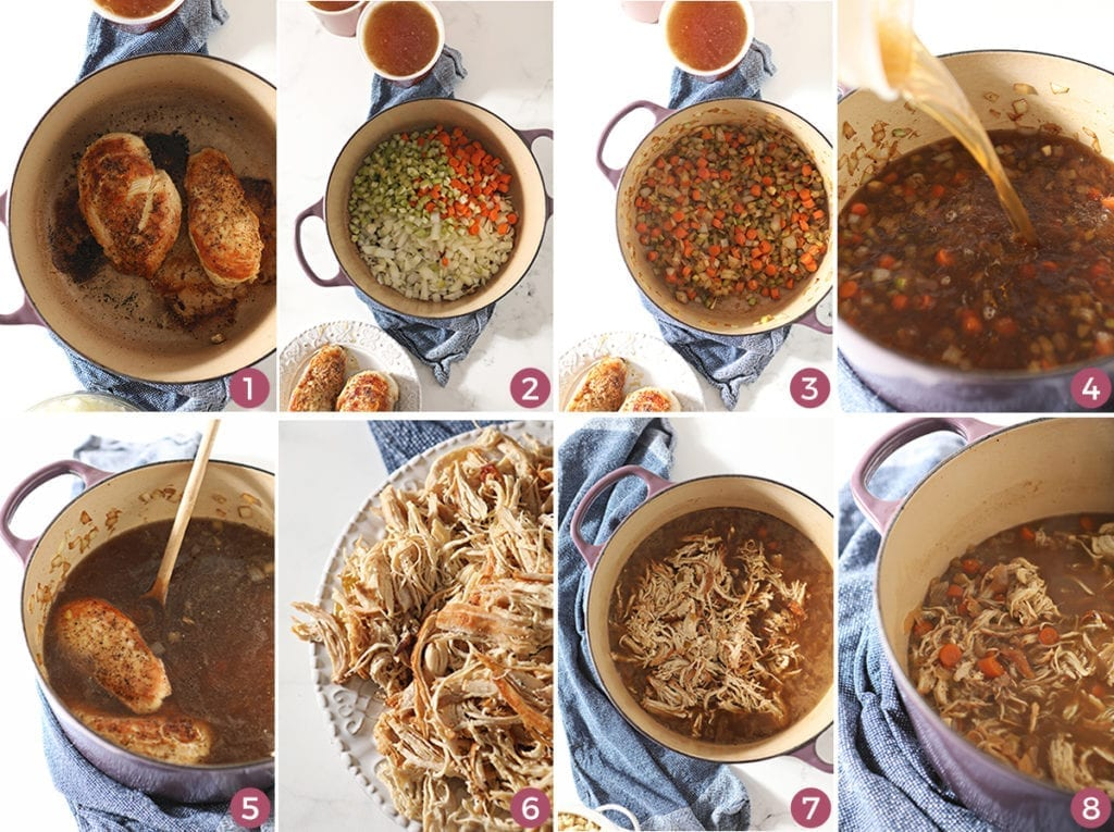 Collage of eight images showing how to make chicken spaetzle soup