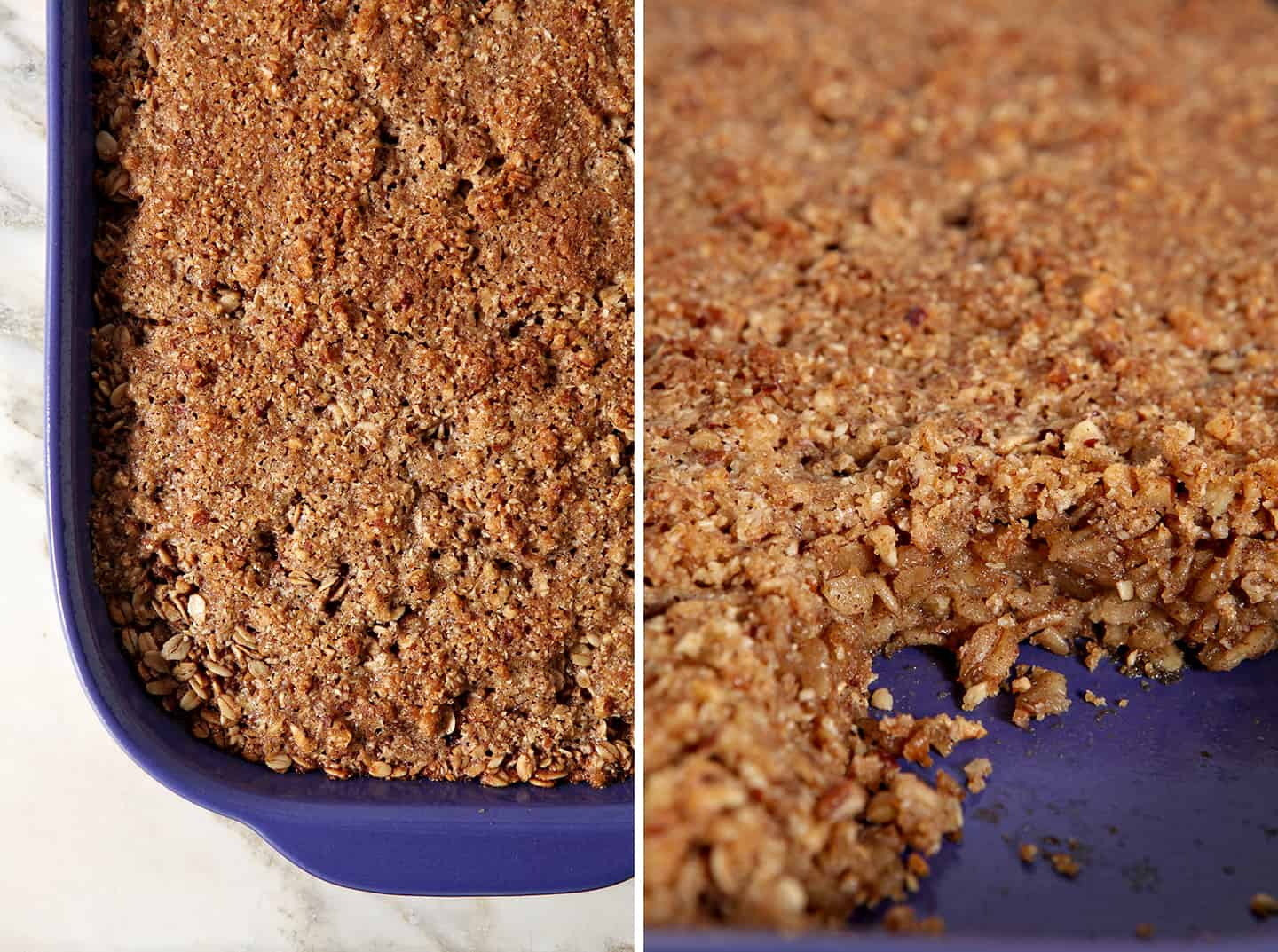 Collage of two images of the Hazelnut and Pecan Baked Oatmeal in a casserole dish, side-by-side