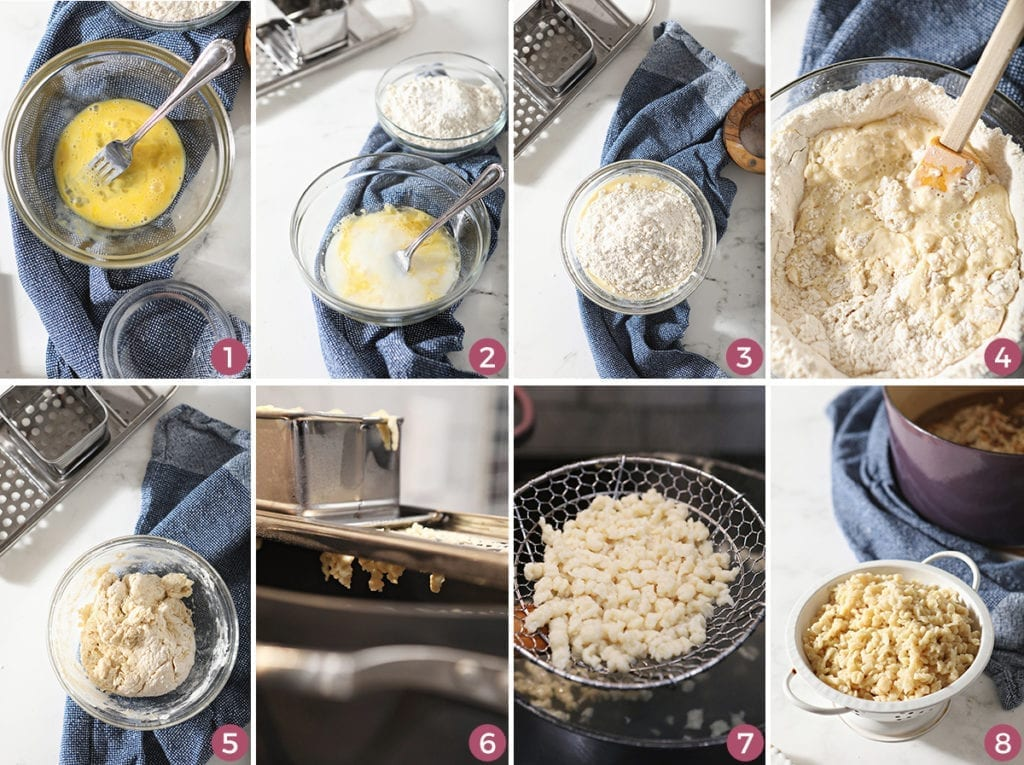 Collage of eight images showing how to make spaetzle (German noodles)