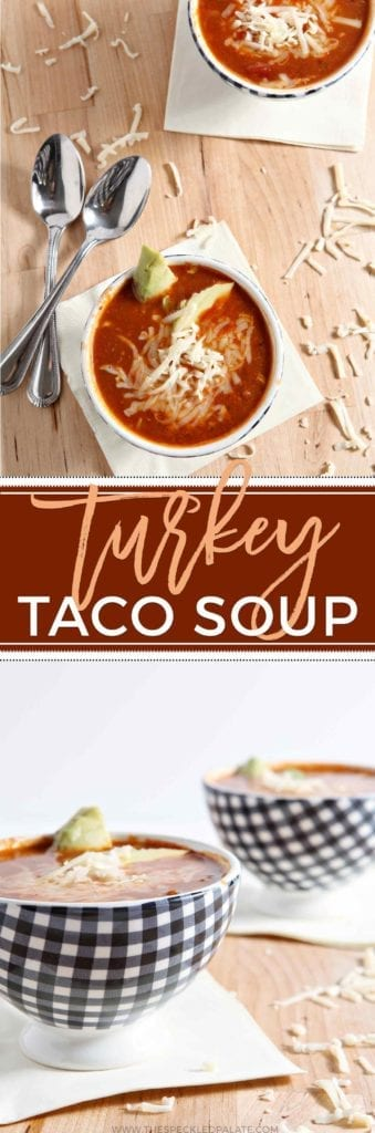 Turkey Taco Soup is a simple, delicious wintertime meal. Easy to make and even easier to eat, this soup adds a zing of spice and lots of vegetables to liven up any weeknight meal. Ground turkey is sauted with onion and garlic, then peeled tomatoes, refried beans, diced chiles, corn and chicken stock are added before the soup simmers for 30 minutes. Finish with cheese, avocado or a dollop of sour cream to highlight this well-spiced soup.