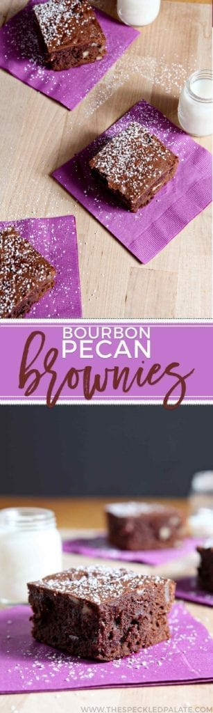 Hosting folks for a party this weekend? Bourbon Pecan Brownies are a unique dessert! Dense, chocolate and pecan-filled brownies sing with bourbon flavor and are perfect for a crowd.