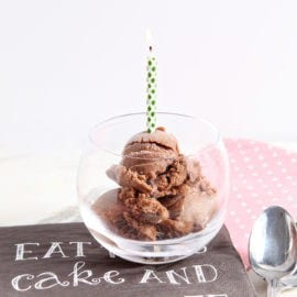 """Celebrate with vegan, healthy Chocolate Banana Ice Cream! Instead of using heavy cream and whole milk, freeze a banana, then blend it until smooth with cocoa powder and pure vanilla extract. This creamy, dreamy """"ice cream"""" is the perfect dessert to enjoy for a birthday!"""