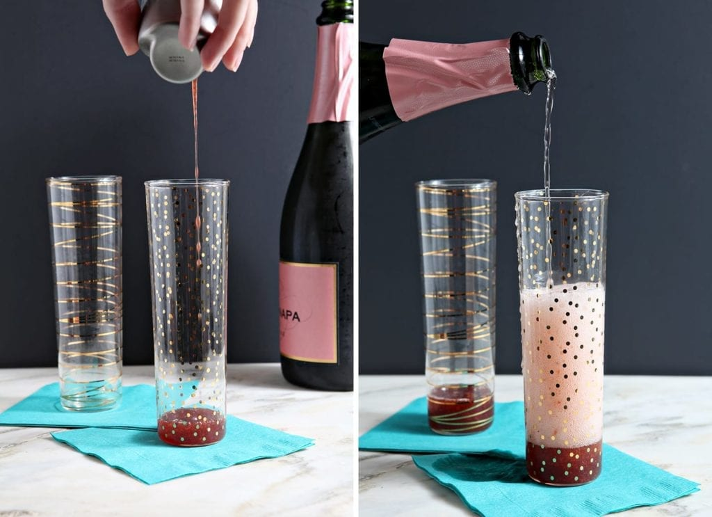 Easter brunch never looked so good! Brut Rosé Champagne is combined with a strawberry simple syrup to create these brilliantly pink Easter Strawberry Champagne cocktails. This drink is sure to be a party favorite!