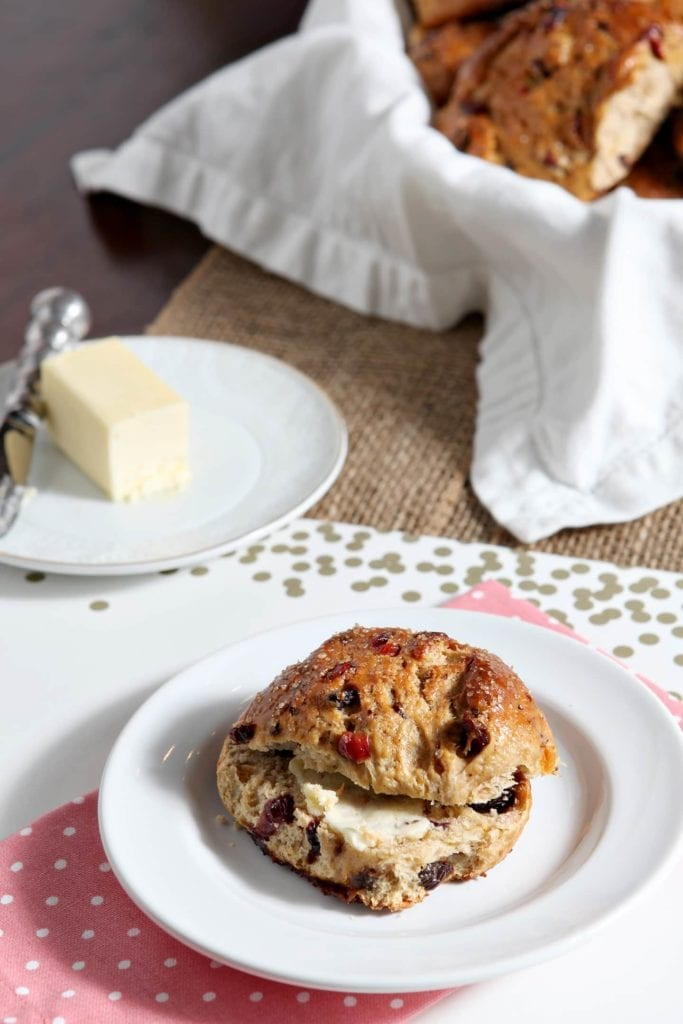 Bake Easter Fruit Buns to celebrate Holy Week this year. These buns are full of currants, raisins, apricots and cranberries and make a sweet Easter breakfast accompaniment.