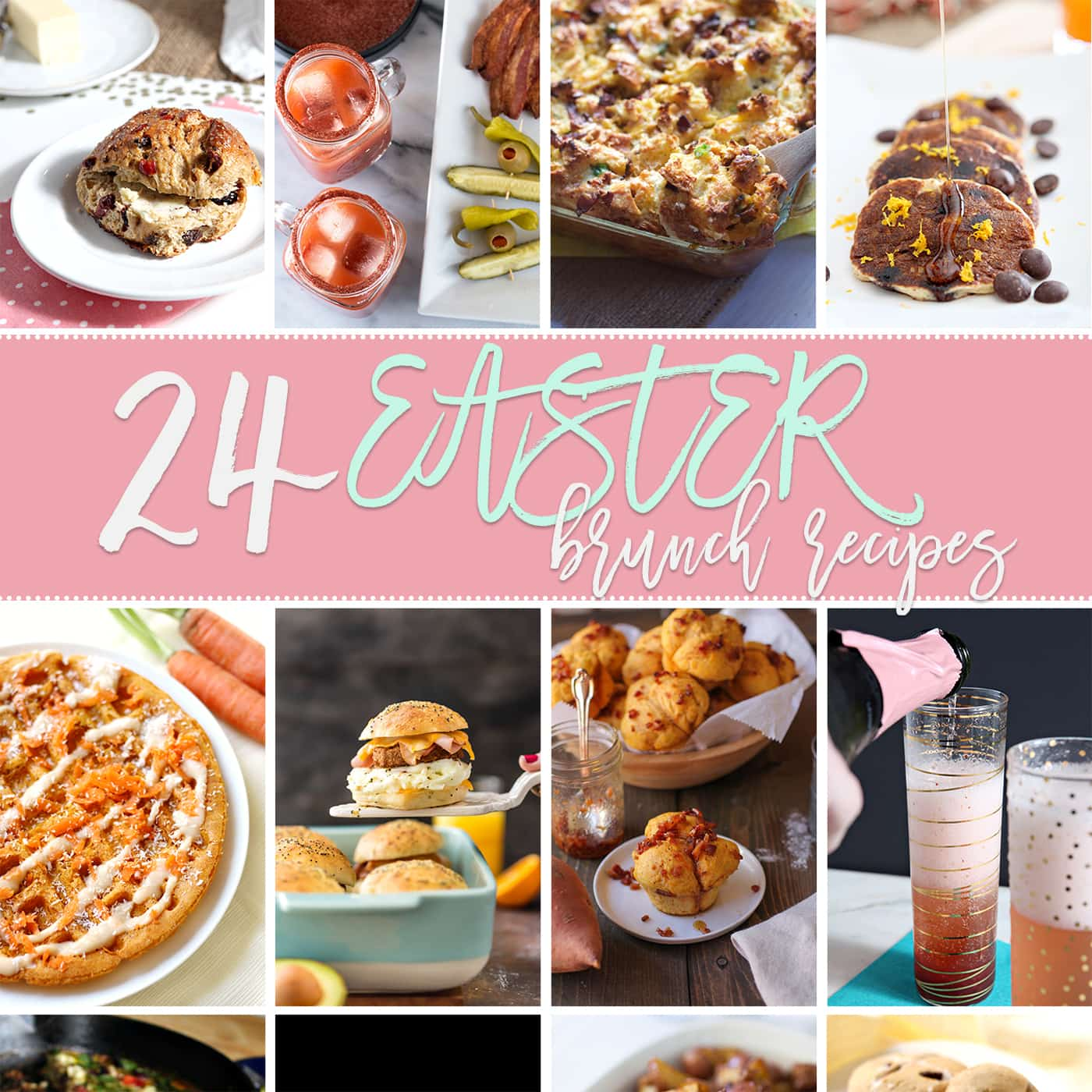 Easter is this Sunday! Drool over these 24 Easter Brunch Recipes and use them for your Easter Sunday get-together. Featuring sweet and savory entrees, sides and drinks, this brunch food round-up offers direction and inspiration while planning your menu!