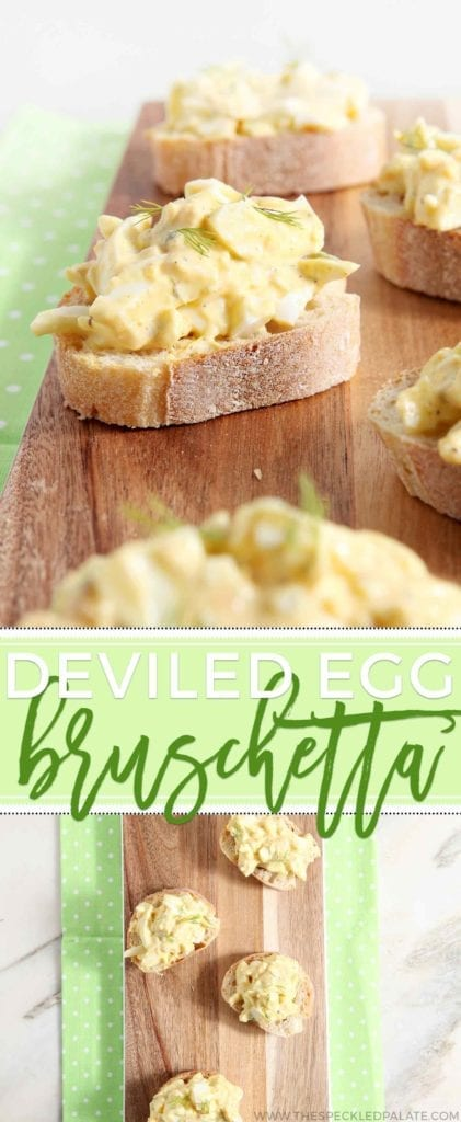 Have a ton of leftover hardboiled eggs from your Easter table? This take on deviled eggs is for you! Instead of making the Southern classic, turn these leftovers into Deviled Egg Bruschetta instead, making a creamy and delicious appetizer that calls for NO mayonnaise.