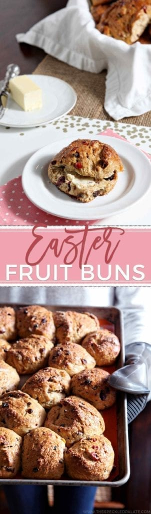 Celebrate Easter by baking Easter Fruit Buns this year. These homemade buns are chock full of currants, raisins, apricots and cranberries. Make a simple sponge starter to begin the process, then add the dried fruits soaked in rum, butter and eggs before mixing the batter together. After two risings, the buns are brushed with an egg wash and ready to bake! These buns are time intensive, but they are the perfect sweet accompaniment to Easter breakfast. #ad