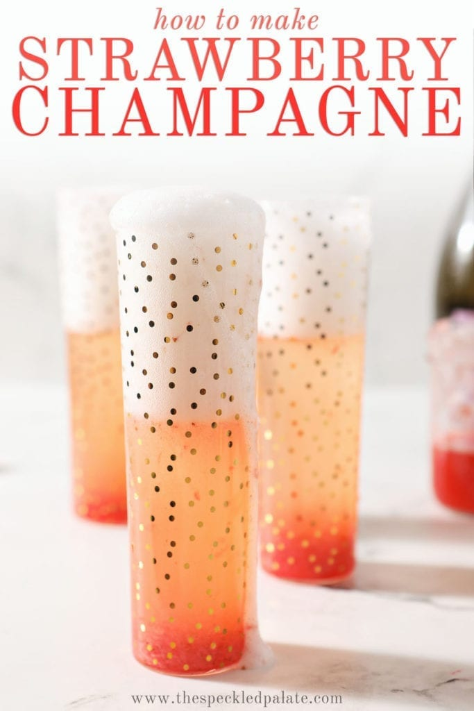 Champagne spills out of a gold leaf champagne flute with the text 'how to make strawberry champagne'
