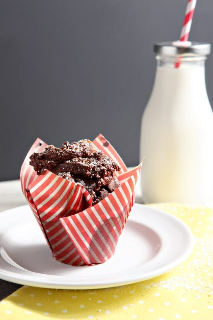 Sweet and spicy chocolate cupcake in striped wrapper on white plate